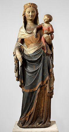 Virgin & Child -- Circa -- Paris, France -- Limestone, paint, gilt & glass -- The Metropolitan Museum of Art Medieval Art, Renaissance Art, Statues, Museum Studies, Saints, Queen Of Heaven, Divine Mother, Madonna And Child, Blessed Virgin Mary