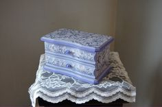 Jewelry Box, Shabby Chic, Decoupage, Lavender, Purple