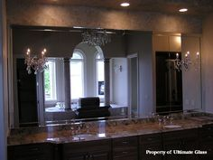 Beveled Glass Mirror for Bathroom | Glass & Mirror Inc. Specializing in custom glass work and bath ...