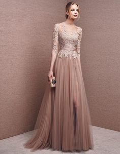 Women's 3/4 Sleeves lace top Chiffon Formal Evening Dresses Long Prom Gown Prom Dresses