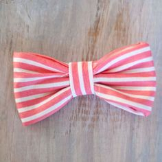 coral stripe hair bow. $5.00, via Etsy.
