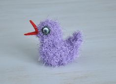 Crochet bird Kids room decor Sweet soft Purple Light violet Spring decor For bird lovers For animal lovers OOAK - pinned by pin4etsy.com