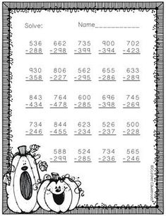 Free 3.NBT.2 More Fall Themed 3 Digit Subtraction With Regrouping
