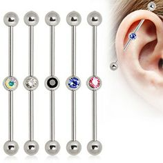 316L Surgical Steel Industrial Barbell with gem ball in the Center $3.95  #industrial #barbell #bodyjewelry #jewelry #gem #316L #cute
