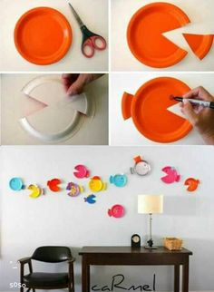 Decorate your kids room using disposable coloured dishes!