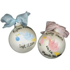 cool Stork Christmas Ball Ornament ,   www.babyshowerstore.ca   #Gifts/Specialty #mybambino #Personalized #StorkChristmasBallOrnament