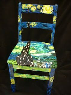Painted Van Gogh chair Gotta love this! is part of Painted wooden chairs - Patio Furniture Sets, Funky Furniture, Art Furniture, Painting Furniture, Furniture Projects, Art Projects, Painted Wooden Chairs, Hand Painted Furniture, Painted Vans