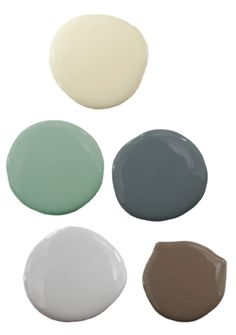 Pure Home paint colors shown here are: Neutral white ICS NW 5, green ICS 7-6, yellow ICS 14-1, dark blue-gray ICS 16-6, light gray ICS 13-5, rich brown ICS NG 57.