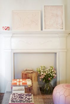 faux fireplace for basement & lucite coffee table.