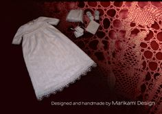 This Christening gown took me 5 months to finish. The skirt has 10 panels which too me 10 hours each to finish.