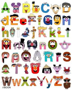 Jim Henson tribute/Sesame Street Alphabet with upper and lower case letters. Click through to see a list of all of the characters! (by Mike BaBoon Design) Sesame Street Party, Sesame Street Birthday, Anniversaire Elmo, Die Muppets, Looney Toons, Elmo Party, Alphabet Print, Alphabet Wall, Alphabet Design