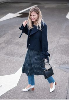 Style by Jules. Navy polka-dot midi dress+cut off jeans+white midi heeled pumps+navy short jacket+black crossbody bag. Spring Casual Outfit 2017