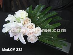 #ivory roses and #white oriental lily #wedding #centerpiece