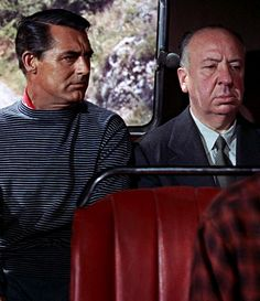 "Alfred Hitchcock's cameo role in ""TO CATCH A THIEF"" sitting next to Cary Grant at the back of a bus. (1955)"