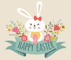 Vector Happy Easter templates with eggs, flowers, floral frames ribbon, rabbit Bunny and typographic design quote. Good for spring and Easter greeting cards, Easter Messages, Easter Greeting Cards, Easter Templates, Easter Printables, Ostern Wallpaper, Illustration Inspiration, Easter Drawings, Easter Illustration, Easter Backgrounds