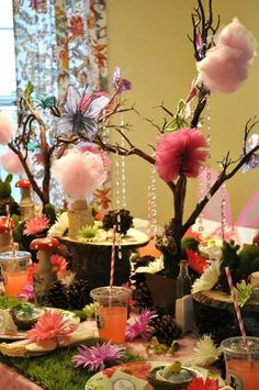 Pretty table decor at a Fairy girl birthday party!   See more party ideas at CatchMyParty.com!