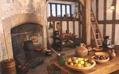 Death and his Reapers gotta eat and inside the old Church there is a small and old kitchen with a wood burning stove and ancient looking pots and cook wear. Tudor Kitchen, Old Kitchen, Kitchen Witch, Kitchen Small, Medieval Houses, Medieval Market, Interior Exterior, Old Wood, Historic Homes
