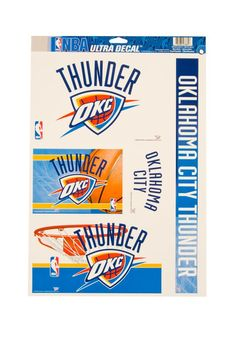 Oklahoma City Thunder Decal Sheet
