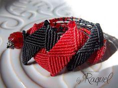 Red N Black Micromacrame Bracelet by Raquels Designs, via Flickr