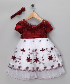 Take a look at this White & Burgundy Floral Dress & Headband - Infant by S Square on #zulily today!