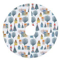 Winter City in Snow Christmas Tree Skirt #christmas #treeskirts #xmas #tree