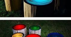 Paint with glow in the dark paint and sun will charge it. Sweet idea! | Landscaping | Pinterest | Awesome, Logs and Sun