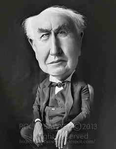 Caricatura de Thomas Alva Edison