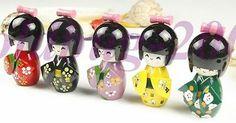 Free Shiping Beautiful Folk Art Japanese Wooden Kokeshi Cute Girl Doll 5pcs | eBay