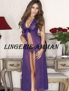 e2d6b8e85 Long Violet Purple Lace Flyaway Gown Chemise Lingerie will ignite the ravishing  siren inside you.