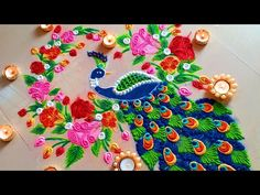 Very easy BEAUTIFUL Peacock rangoli new year special 2019 rangoli designs. Kindly try this new peacock rangoli designs and comment me your feedback below. Rangoli Designs Peacock, Easy Rangoli Designs Diwali, Indian Rangoli Designs, Rangoli Designs Latest, Simple Rangoli Designs Images, Free Hand Rangoli Design, Small Rangoli Design, Rangoli Patterns, Colorful Rangoli Designs