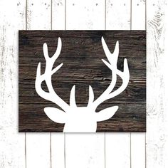 Deer Art Print, Antler Print, Deer Head with Antlers, Holiday Decor, Wood Art Print, INSTANT DOWNLOAD on Etsy, $5.46 CAD