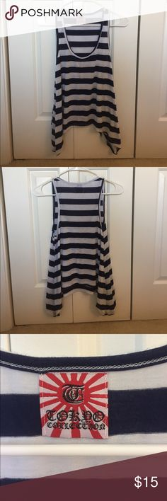 Navy Blue and White Striped Tank Top navy blue and white striped tank top. In great condition and from a smoke free home. Longer on either side. I'm not sure what brand it is. Please feel free to comment with any questions or to make an offer! Tops Tank Tops