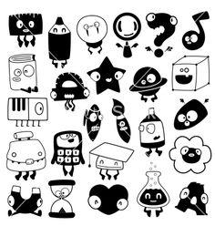 Set of cartoon school objects silhouettes on VectorStock