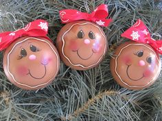 HP Set of Three Gingerbread Christmas Ball Ornaments | Crafts, Handcrafted & Finished Pieces, Handpainted Items | eBay!