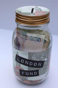 London Fund custom glass money jar by MonikaKVeith on Etsy