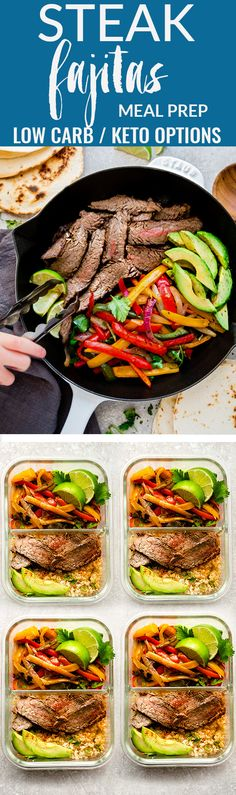 Easy Steak Fajitas are tender, juicy and full of flavor! Best of all, they come together super quick and are perfect for busy weeknights. Marinated in a homemade fajita spice blend and cilantro a delicious Tex-Mex cilantro lime marinade. Low carb and keto friendly serving options and great for meal prepping on Sunday for work or school lunchboxes or lunch bowls. #fajitas #steak #lowcarb #keto #mealprep #lunchbox #cauliflowerrice #healthy