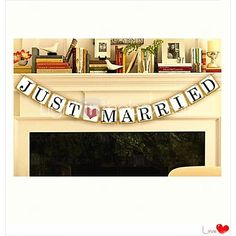 """""""JUST MARRIED"""" Wedding Banner Bunting--- Set of 12 Pieces - USD $7.99"""