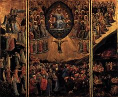 ANGELICO, Fra Triptych: The Last Judgment  c. 1450 Poplar, 103 x 65 cm (central), 103 x 28 (each wing) Staatliche Museen, Berlin  Fra Angelico's late Last Judgment is close to Trecento sources, to the school of Orcagna in particular. It was painted when the popular artist had a large studio. Perhaps the painting is by Zanubi Strozzi, who was predominantly a manuscript illuminator. Originally on a single panel, the scene was cut into thirds at a much later date.