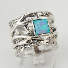 Unique Fine Sterling Silver Opal band