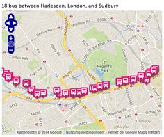 Bus 18 takes you right from our doorstep (Stop Harrow Road/ Fifth Avenue) through Little Venice (14 minutes) and Baker Street and Regent's Park (21 minutes), to Great Portland Street and Warren Street (27 minutes).