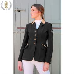 Equiport Black Technical Show Jacket with Double Piped Caramel Collar, £386. An elegant show jacket with caramel and gold detailing. #equestrian #show #jacket
