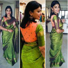 Orange butta cotton silk blouse with mehendi green sleeves Cotton Saree Blouse Designs, Bridal Blouse Designs, Simple Blouse Designs, Stylish Blouse Design, Designer Blouse Patterns, Sumo, Blouse Models, Saree Models, Blouse Styles