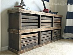 Use pre-made crates to make an adorable dresser! Full (FREE) build plans!