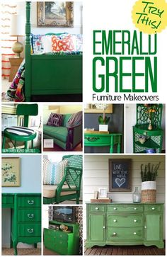 Gorgeous furniture makeovers featuring the color emerald green. Try painting a bureau, table or chair in emerald green and watch the room pop with color.