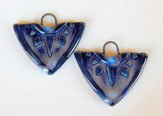 Handmade Ceramic Earring Charms Pair boho light and dark blue