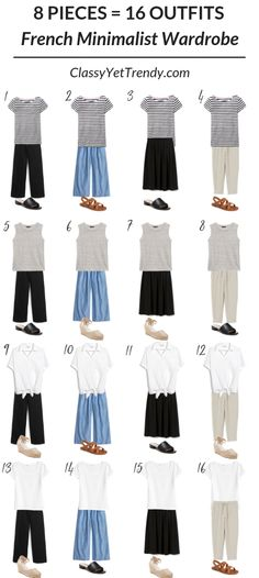 8 Pieces = 16 Outfits: French Minimalist Carry On Travel Capsule Wardrobe Classy Yet Trendy These 8 pieces in The French Minimalist Capsule Wardrobe: Summer 2019 Collection will make 16 outfits outfit idea! You can pack these items in a carry on suitca French Minimalist Wardrobe, Minimalist Fashion, Minimalist Outfits, Travel Outfit Summer, Summer Outfits, Travel Wardrobe Summer, Capsule Wardrobe Summer, Travel Outfits, Summer Travel