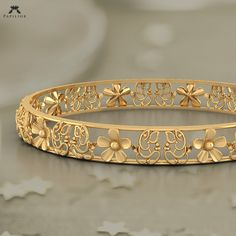 faithful ganesha floret bangle buy gold bangle online in india Gold Ring Designs, Gold Bangles Design, Gold Jewellery Design, Gold Jewelry, Jewelry Necklaces, Fine Jewelry, Diamond Bracelets, Handmade Jewellery, Silver Bracelets