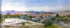 Vue des montagnes du Kef: Peinture de Alexandre Roubtzoff (1948)