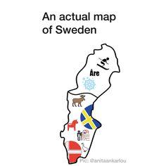 Actual map of Sweden