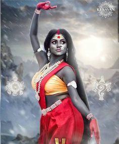 "The name ""Terror"" or ""awe-inspiring"". She is the of ten Mahavidyas. She is also called Tripurabhairavi. ""Tri"" means… Shiva Parvati Images, Durga Images, Shiva Hindu, Shiva Shakti, Hindu Deities, Krishna, Maa Durga Photo, Maa Durga Image, Durga Maa"